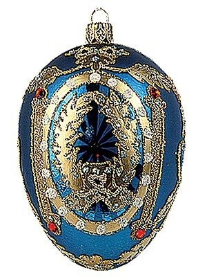 Blue Frame Egg Faberge Inspired Polish Glass Holiday Ornament Easter Decoration