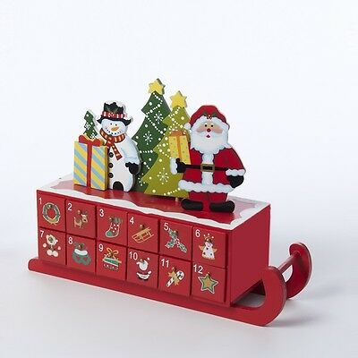 Santa and Snowman on Top of Sleigh Shaped Christmas Wooden Advent Calender