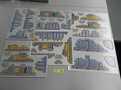 Warhammer 40K terrain & scenery - 2nd Ed card stock walls & ruins - unpunched