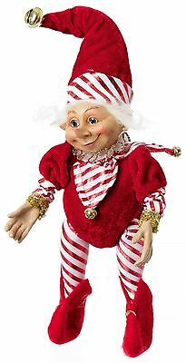 Christmas Elf Peppermint 11 inches red and white costume 203337 NEW posable