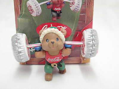 Mouse Lifting Coke Bottle Cap Weights Weight Lifter Ornament 1993 Enesco w Box