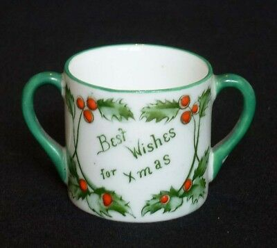 Adderley China Miniature 'Christmas' Loving Cup - Holly & Mistletoe c.1910-1920