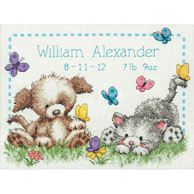 """Pet Friends Birth Record Counted Cross Stitch Kit-12""""X9"""" 14 Count"""