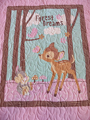 Handcrafted Bambi & Thumper Baby Quilt - Butterflies Quilted all over - SEE PICS