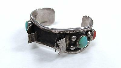 Sterling Silver Turquoise & Coral Wristwatch Cuff Bracelet ~ 55.2grams 17-I3576