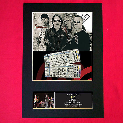 U2 Mounted Signed Photo Reproduction Autograph Print A4 199