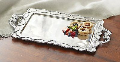 Mud Pie~ Knot & Beau Metal Serving Tray, Silver