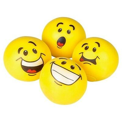 (4) Yellow Moldable Smiley Face Stretchy Squishy Stress Balls for Kids