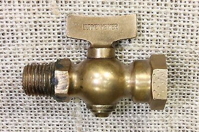 "old Lunkenheimer brass ""T"" valve vintage gas Steam Engine Tractor 1/4"" MIP FIP"
