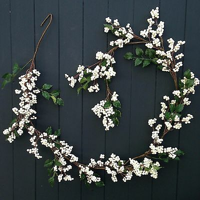 White Snowberry Faux Artificial Christmas Garland