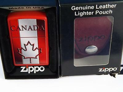 Zippo Canada Red Maple Leaf Lighter & Leather Pouch  Belt Clip Xmas Gift Lot