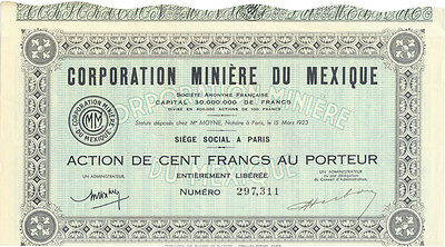 Frankreich Mexiko Corporation Miniere du Mexique alte Aktie 1923