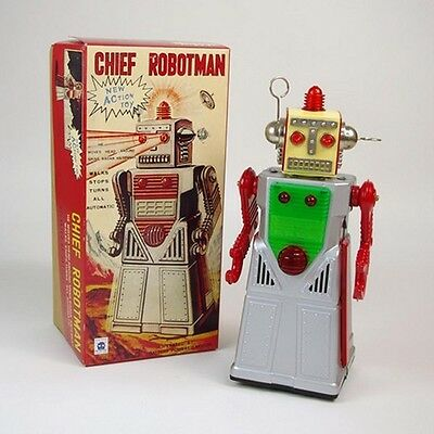 TR2053 Vintage Battery perated Tin Toy Mega Chief Robot space man NIB replica
