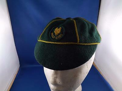 Wolf Cubs Hat Cap Green Yellow Stripes Patch Vintage Scouts Canada