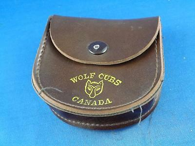 Wolf Cubs Canada Leather Belt Pouch Snap Closure Logo
