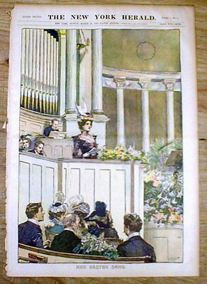 1899 newspaper COLOR magazine w Large EASTER engraving WOMAN SINGING in CHURCH