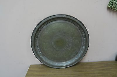 """Vintage Middle Eastern Etched Copper Brass 12.5"""" Tray Plate Islamic Deer Camels"""