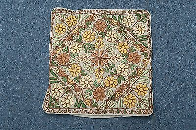 """Vintage Antique Hand Embroidered Pillow Cover 14"""" x 15"""" European Arts & Crafts"""