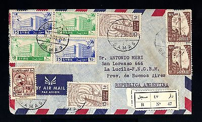 13704-SYRIA-AIRMAIL REGISTERED COVER DAMAS to BUENOS AIRES (argentina)1958.Syrie