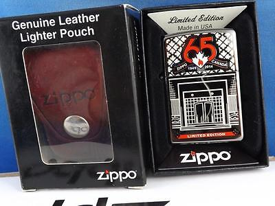 ZIPPO CANADA 65th ANNIVERSARY LIMITED EDITION LIGHTER & LEATHER POUCH CLIP LOT
