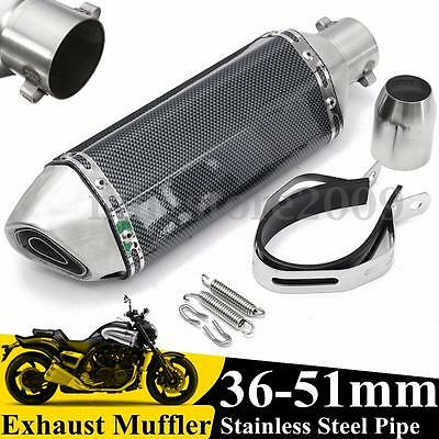 Motorcycle 36-51mm Carbon Fiber Stainless Steel Exhaust Muffler Pipe w/ Silencer
