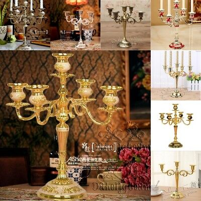 Vintage/Luxury 3Arms/5Arms Candle Holder Metal Crafts Candelabra For Xmas Party