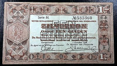 NETHERLANDS: 1938 1 Gulden Silverbon, P-61 **SERIE BL** ◢ FREE COMBINED S/H ◣