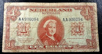NETHERLANDS: 1945 1 Gulden Note, P-70 **NICE CONDITION**◢ FREE COMBINED S/H ◣