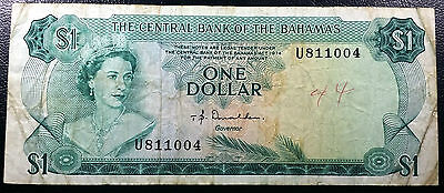 L1974 CENTRAL BANK OF THE BAHAMAS 1 DOLLAR BANKNOTE (P-35a) - GREAT CONDITION