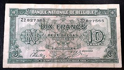 BELGIUM: 1943 10 Francs Banknote **VF/XF CONDITION** P-122 ◢ FREE COMBINED S/H ◣