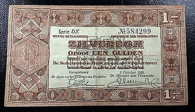 NETHERLANDS: 1938 1 Gulden Silverbon, P-61 **SERIE DX** ◢ FREE COMBINED S/H ◣