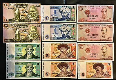 Collection Of 12 Asia And Africa Notes  **unc Crisp Bills** B5D7
