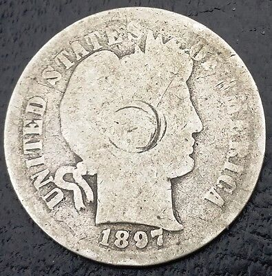1897 Barber 90% Silver Dime, 10 Cents Coin ◢ FREE COMBINED S/H ◣