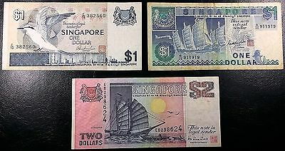 SINGAPORE: 1976 $1 P-9, 1987 $1 P-18a, 1990 $2 P-27 ◢ FREE COMBINED S/H ◣