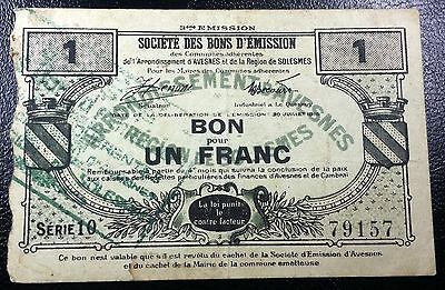 FRANCE: 1916 Avesnes 1 Franc Emergency Money, Pirot 59-203 ◢ FREE COMBINED S/H ◣