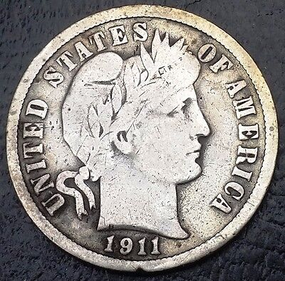 1911-D Barber 90% Silver Dime, 10 Cents Coin, Nice Details ◢ FREE COMBINED S/H ◣