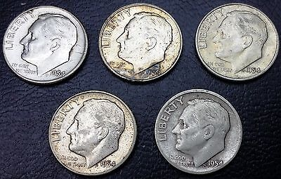 Lot of 5 Roosevelt 90% Silver Dimes 10 cents ** 1954 **◢ FREE COMBINED S/H ◣