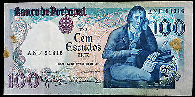 1981 Portugal 100 Escudos Ouro Bank Note **great Condition**
