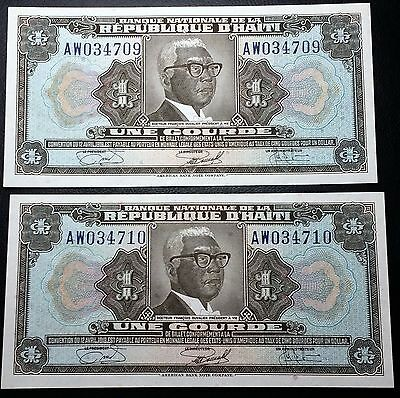 HAITI: 2 Consecutive 1919 1 Gourde Banknotes *AU+* - P-200 - FREE COMBINED S/H