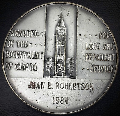 1984 CANADA LONG & EFFICIENT SERVICE AWARD MEDAL - 106g OF 925 SILVER - NAMED