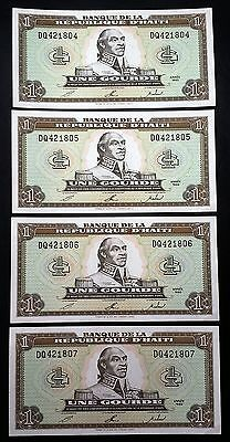 HAITI: 4 Consecutive 1993 1 Gourde Banknotes *AU/UNC*- P-259 - FREE COMBINED S/H