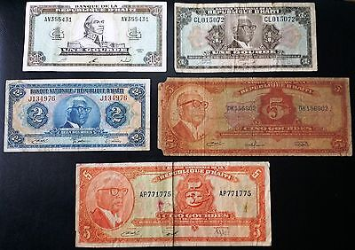 HAITI: Lot of 5 Notes 1919 1992 1 2 5 Gourdes P-198 200 201 212 259 COMBINED S/H