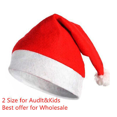 2Pcs Soft Plush Ultra Thick Santa Claus Patry Christmas Cap Hat For Adult & Kids