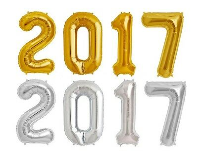 """34"""" Giant Foil 2017 NEW YEARS Eve Silver or Gold Balloons Party Decorations"""