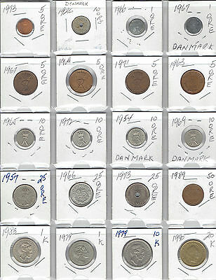 DENMARK Lot of 20 Different Coins