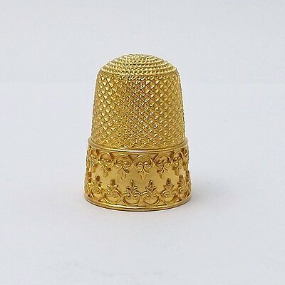 Victorian Solid 18k Yellow Gold Ornate Sewing Thimble Sz 8 Mint