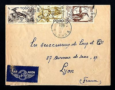 13463-TOGO-AIRMAIL COVER LOME to LYON (france).1950.FRENCH colonies.Afrique.
