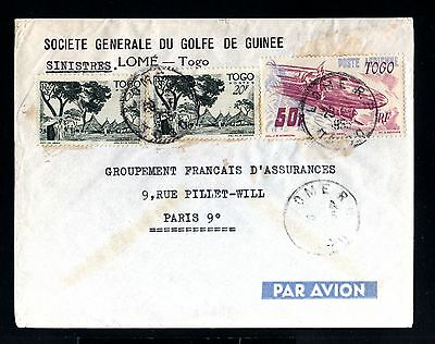 12968-TOGO-AIRMAIL COVER LOME to PARIS (france).1955.FRENCH colonies.Afrique.