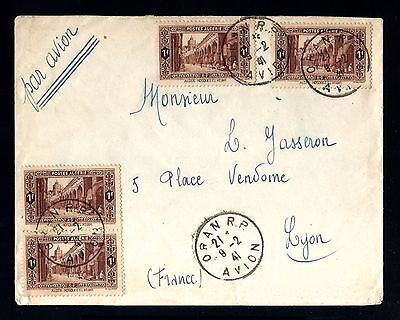 13578-ALGERIA-AIRMAIL COVER ORAN to LYON (france)1941.WWII.Algerie.FRENCH.Aerien