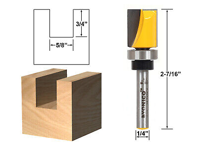 "5/8"" Diameter Flush Trim Template Router Bit - 1/4"" Shank - Yonico 14126q"